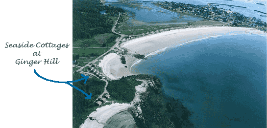 Aerial view Seaside Cottages on Crescent Beach